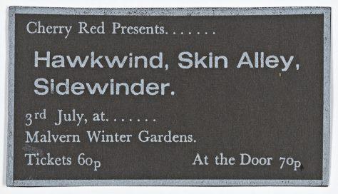 Ticket for Hawkwind at Malvern Winter Gardens, 03 July 1971