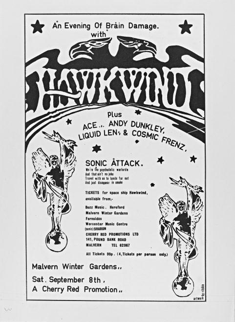 Flyer for Hawkwind at Malvern Winter Gardens, 08 September 1973