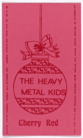 Ticket for The Heavy Metal Kids at Malvern Winter Gardens, 23 December 1975