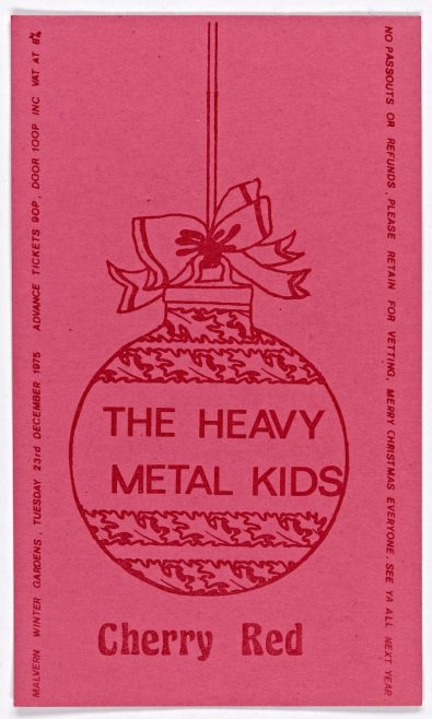 Ticket for The Heavy Metal Kids at Malvern Winter Gardens, 23 December 1975 | Cherry Red Promotions