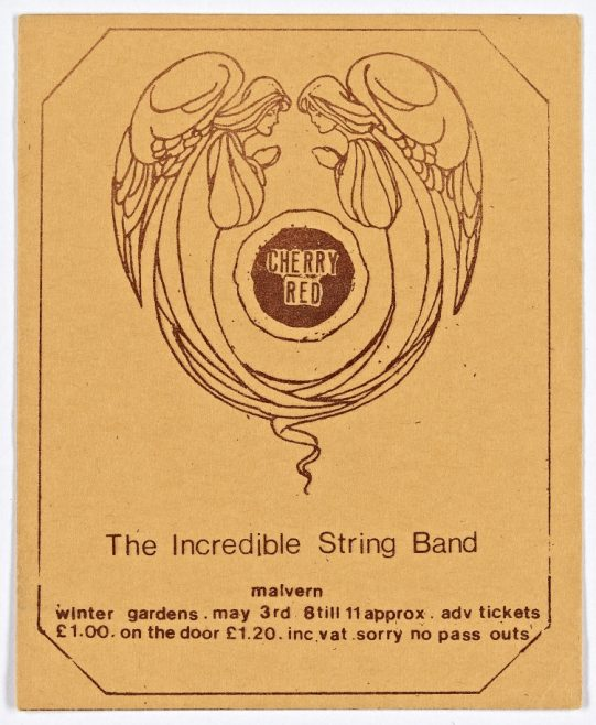 Ticket for The Incredible String Band at Malvern Winter Gardens, 03 May 1974 | Cherry Red Promotions