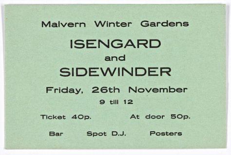 Ticket for Isengard at Malvern Winter Gardens, 26 November 1971