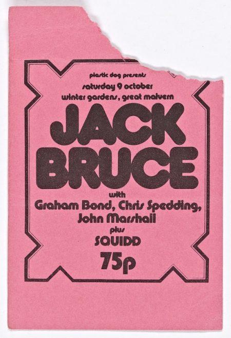 Ticket for Jack Bruce at Malvern Winter Gardens, 09 October 1971 | Plastic Dog Promotions