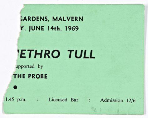 Ticket for Jethro Tull at Malvern Winter Gardens, 14 June 1969