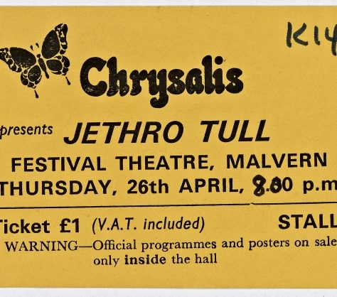Ticket for Jethro Tull at Malvern Festival Theatre, 26 April 1973 | Chrysalis