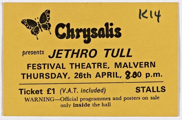Ticket for Jethro Tull at Malvern Festival Theatre, 26 April 1973