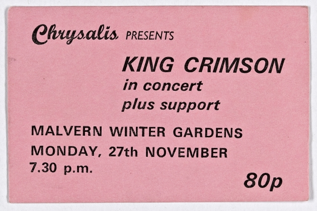 Ticket for King Crimson at Malvern Winter Gardens, 27 November 1972 | Cherry Red Promotions