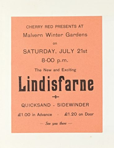 Flyer for Lindisfarne at Malvern Winter Gardens, 21 July 1973
