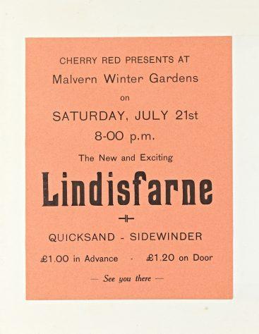 Flyer for Lindisfarne at Malvern Winter Gardens, 21 July 1973