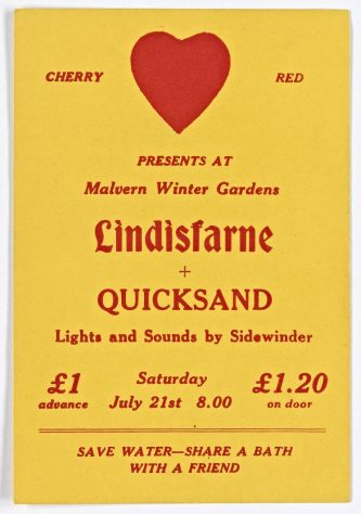 Ticket for Lindisfarne at Malvern Winter Gardens, 21 July 1973