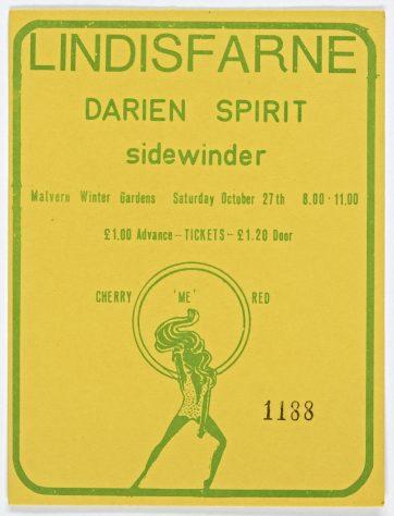 Ticket for Lindisfarne at Malvern Winter Gardens, 27 October 1973