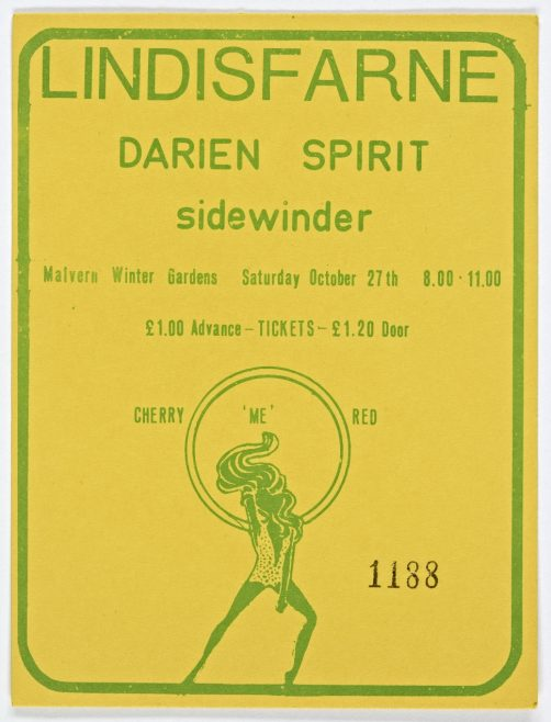 Ticket for Lindisfarne at Malvern Winter Gardens, 27 October 1973 | Cherry Red Promotions