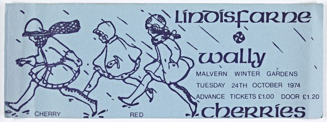 Ticket for Lindisfarne at Malvern Winter Gardens, 24 October 1974