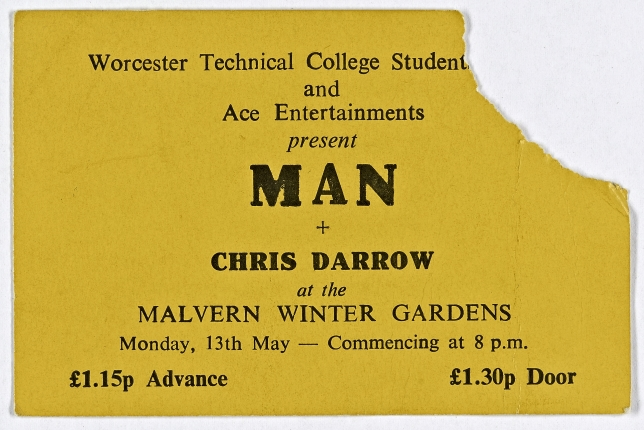 Ticket for Man at Malvern Winter Gardens, 13 May 1974 | Worcester Technical College Students Union & Ace Entertaintments