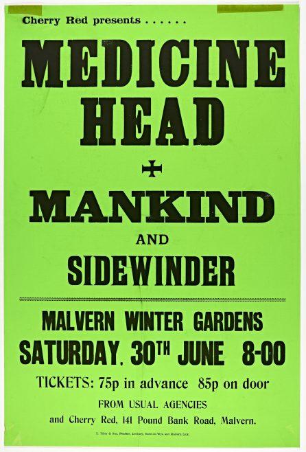 Poster for Medicine Head at Malvern Winter Gardens, 30 June 1973