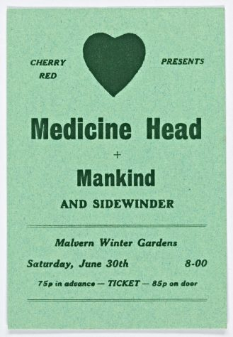 Ticket for Medicine Head at Malvern Winter Gardens, 30 June 1973