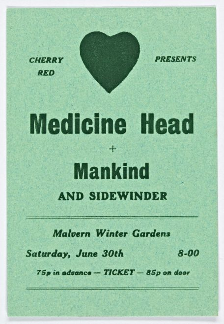 Ticket for Medicine Head at Malvern Winter Gardens, 30 June 1973 | Cherry Red Promotions