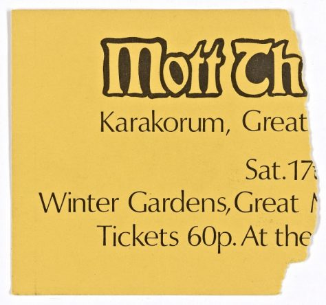 Ticket for Mott the Hoople at Malvern Winter Gardens, 17 April 1971