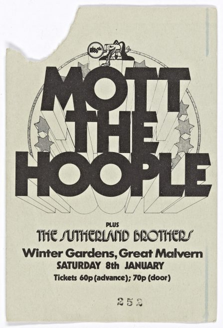 Ticket for Mott the Hoople at Malvern Winter Gardens, 08 January 1972 | Plastic Dog Promotions