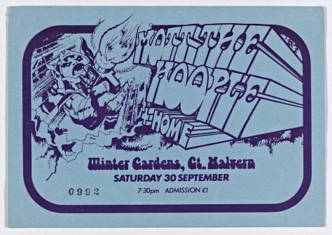 Ticket for Mott the Hoople at Malvern Winter Gardens, 30 September 1972