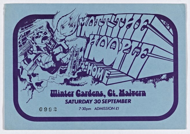Ticket for Mott the Hoople at Malvern Winter Gardens, 30 September 1972 | Plastic Dog Promotions