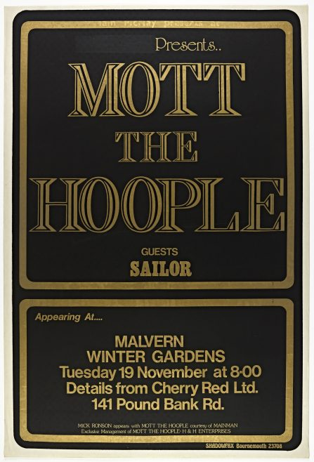 Poster for Mott the Hoople at Malvern Winter Gardens, 19 November 1974