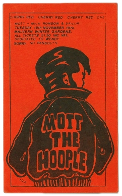 Ticket for Mott the Hoople at Malvern Winter Gardens, 19 November 1974