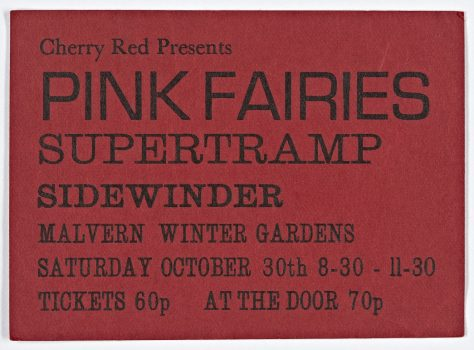 Ticket for The Pink Fairies at Malvern Winter Gardens, 30 October 1971
