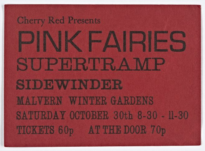 Ticket for The Pink Fairies at Malvern Winter Gardens, 30 October 1971 | Cherry Red Promotions