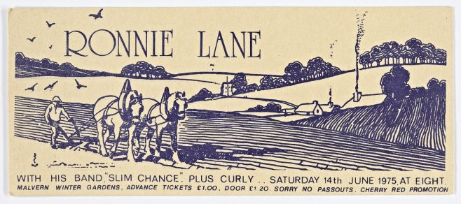 Ticket for Ronnie Lanes Slim Chance at Malvern Winter Gardens, 14 June 1975 | Cherry Red Promotions