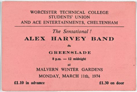 The Sensational Alex Harvey Band, Greenslade, 11 March 1974