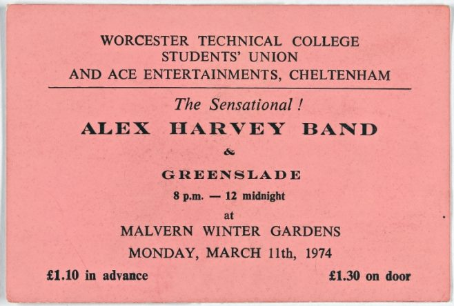 Ticket for The Sensational Alex Harvey Band at Malvern Winter Gardens, 11 March 1974 | Worcester Technical College Students Union & Ace Entertaintments