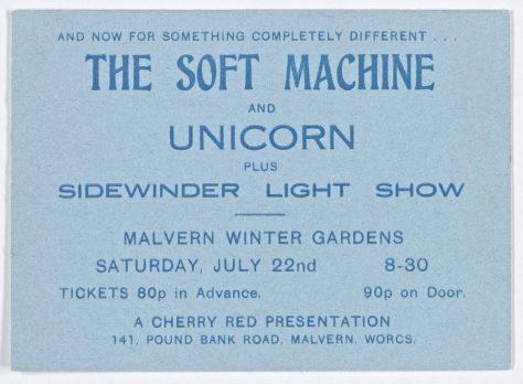 Ticket for The Soft Machine at Malvern Winter Gardens, 22 July 1972