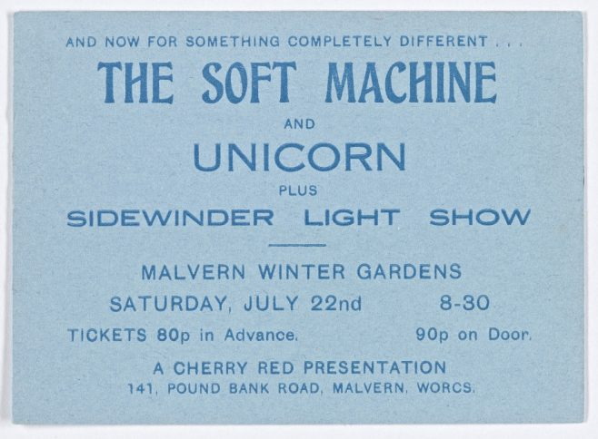 Ticket for The Soft Machine at Malvern Winter Gardens, 22 July 1972 | Cherry Red Promotions