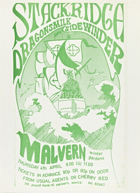 Flyer for Stackridge at Malvern Winter Gardens, 04 April 1974