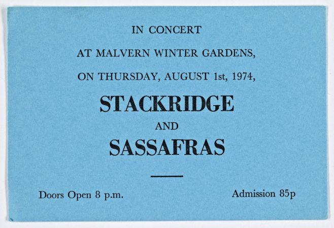 Ticket for Stackridge at Malvern Winter Gardens, 01 August 1974