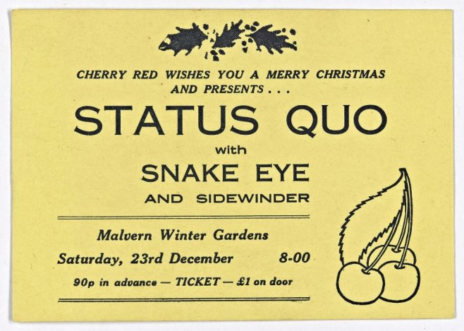 Ticket for Status Quo at Malvern Winter Gardens, 23 December 1972 | Cherry Red Promotions