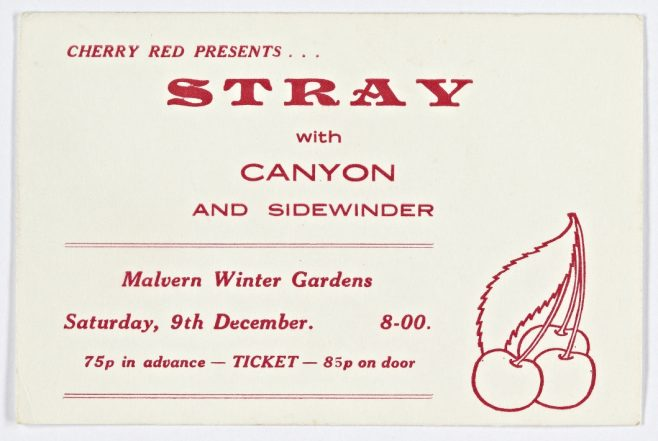 Ticket for Stray at Malvern Winter Gardens, 09 December 1972 | Cherry Red Promotions