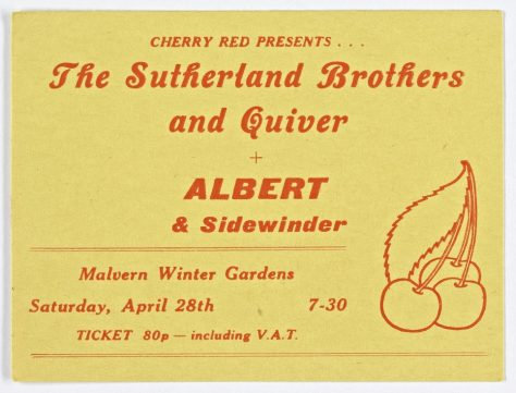 Ticket for Sutherland Brothers and Quiver at Malvern Winter Gardens, 28 April 1973