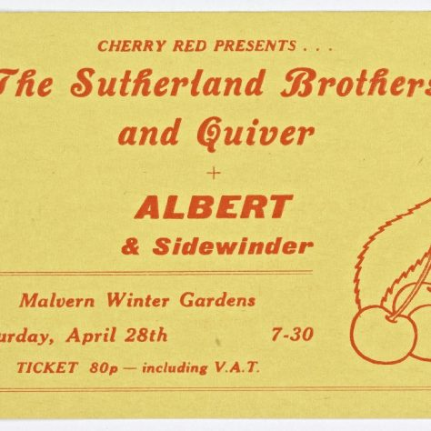 Ticket for Sutherland Brothers and Quiver at Malvern Winter Gardens, 28 April 1973 | Cherry Red Promotions