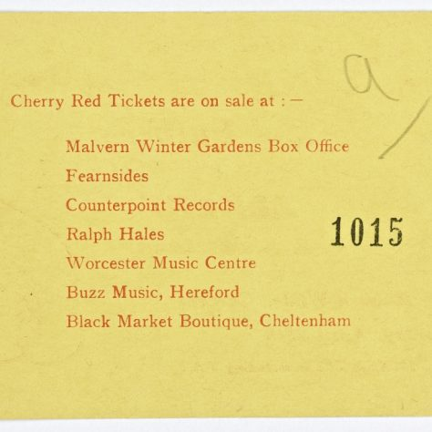 Reverse side of ticket for Sutherland Brothers and Quiver at Malvern Winter Gardens, 28 April 1973 | Cherry Red Promotions