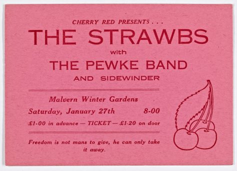 Ticket for The Strawbs at Malvern Winter Gardens, 27 January 1973