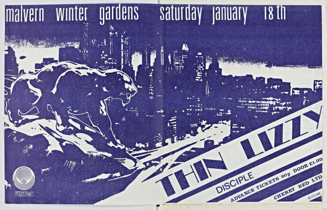Flyer for Thin Lizzy at Malvern Winter Gardens, 18 January 1975