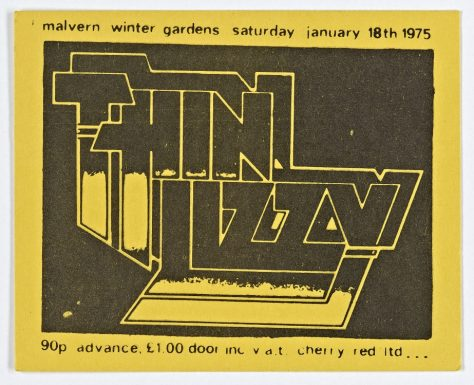 Ticket for Thin Lizzy at Malvern Winter Gardens, 18 January 1975