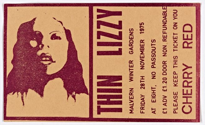 Ticket for Thin Lizzy at Malvern Winter Gardens, 28 November 1975 | Cherry Red Promotions