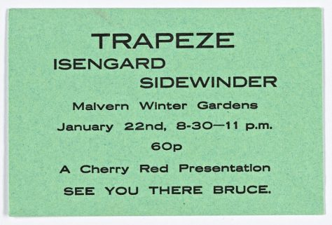 Ticket for Trapeze at Malvern Winter Gardens, 22 January 1972