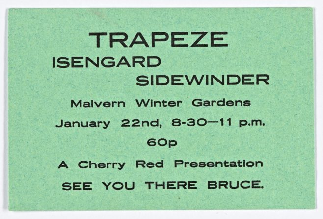 Ticket for Trapeze at Malvern Winter Gardens, 22 January 1972   Cherry Red Promotions