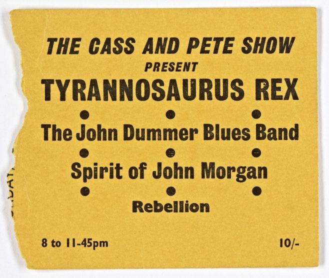 Ticket for Tyrannosaurus Rex at Malvern Winter Gardens, 28 September 1968 | The Cass and Pete Show