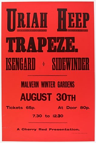 Poster for Uriah Heep at Malvern Winter Gardens, 30 August 1971 | Cherry Red Promotions