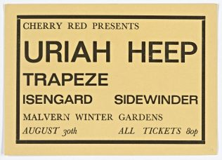 Ticket for Uriah Heep at Malvern Winter Gardens, 30 August 1971 | Cherry Red Promotions
